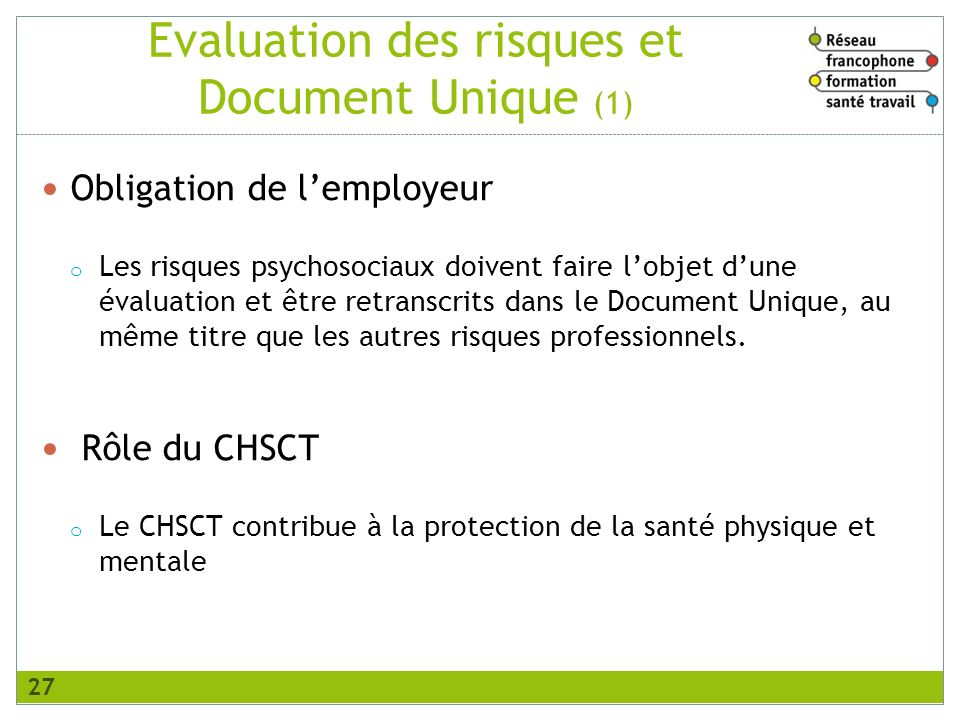 Evaluation des risques et Document Unique (1)