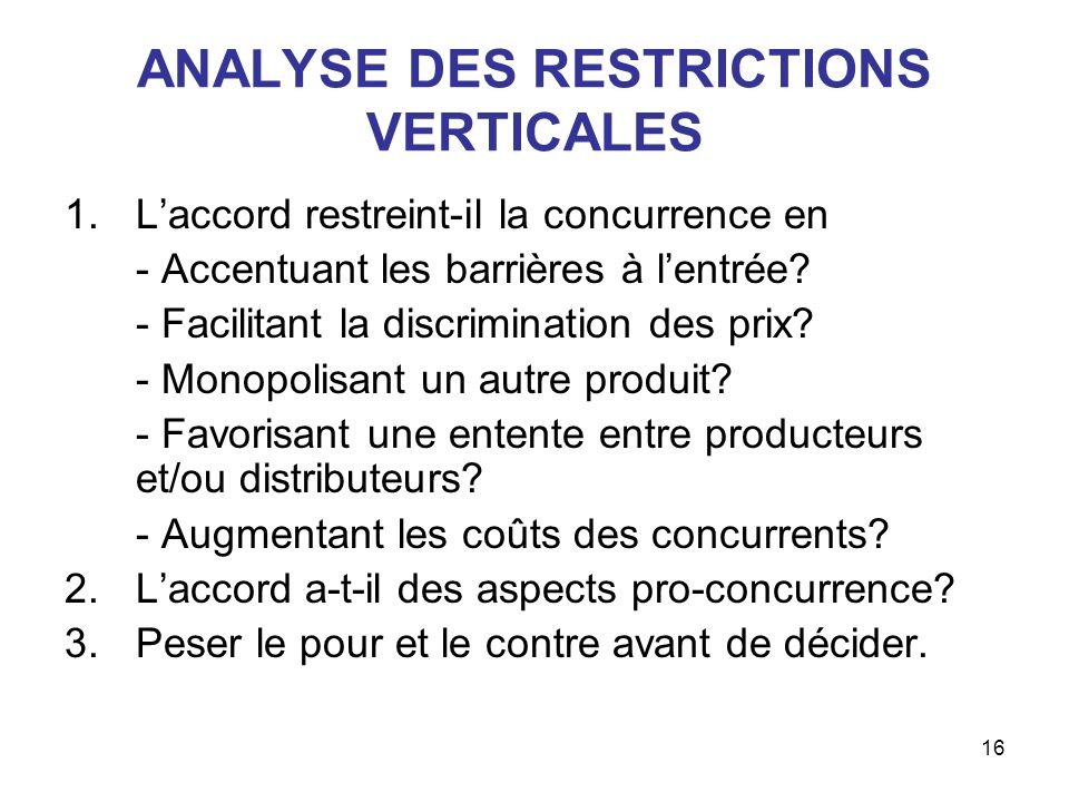 ANALYSE DES RESTRICTIONS VERTICALES