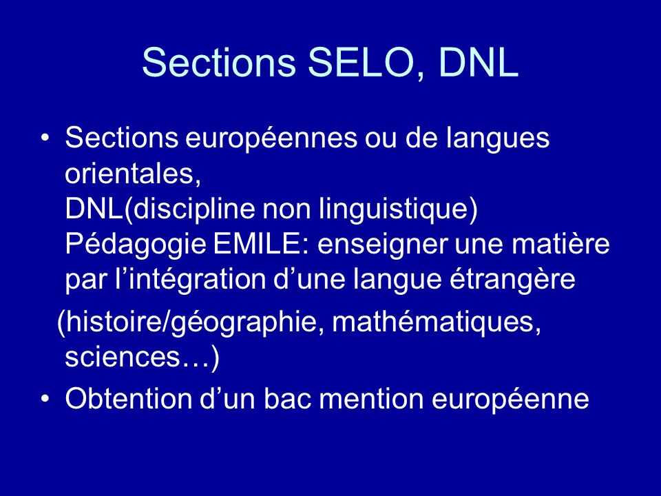 Sections SELO, DNL