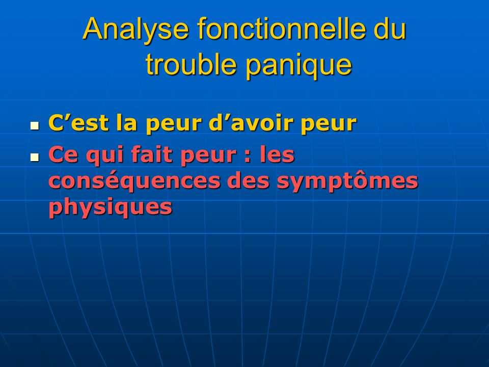 Analyse fonctionnelle du trouble panique