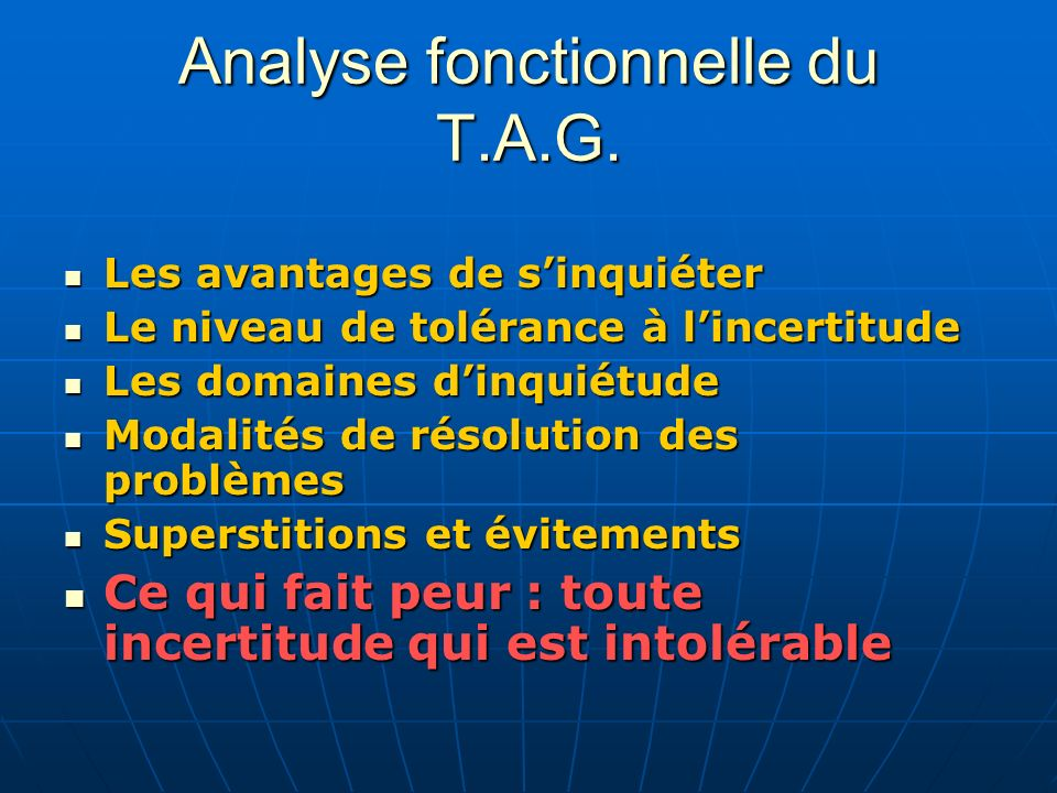 Analyse fonctionnelle du T.A.G.