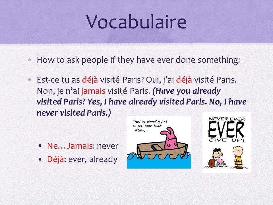 Vocabulaire How to ask people if they have ever done something: