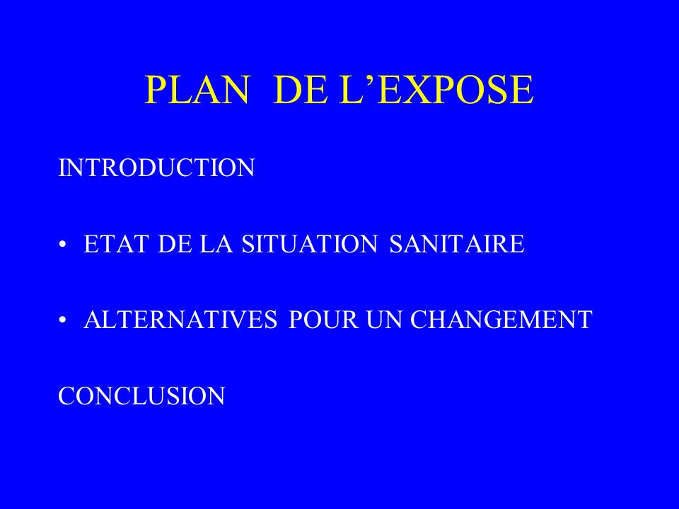 PLAN DE L'EXPOSE INTRODUCTION ETAT DE LA SITUATION SANITAIRE