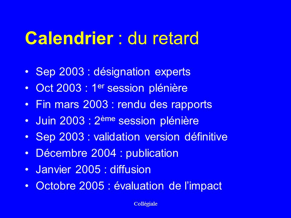 Calendrier : du retard Sep 2003 : désignation experts