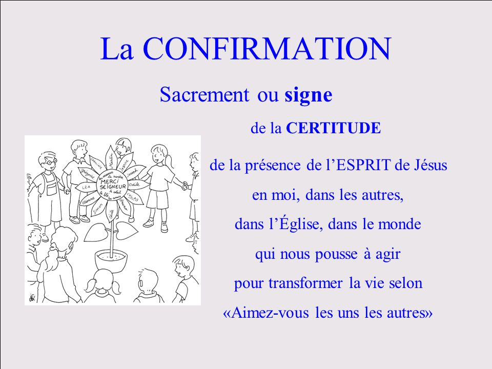 La CONFIRMATION Sacrement ou signe de la CERTITUDE