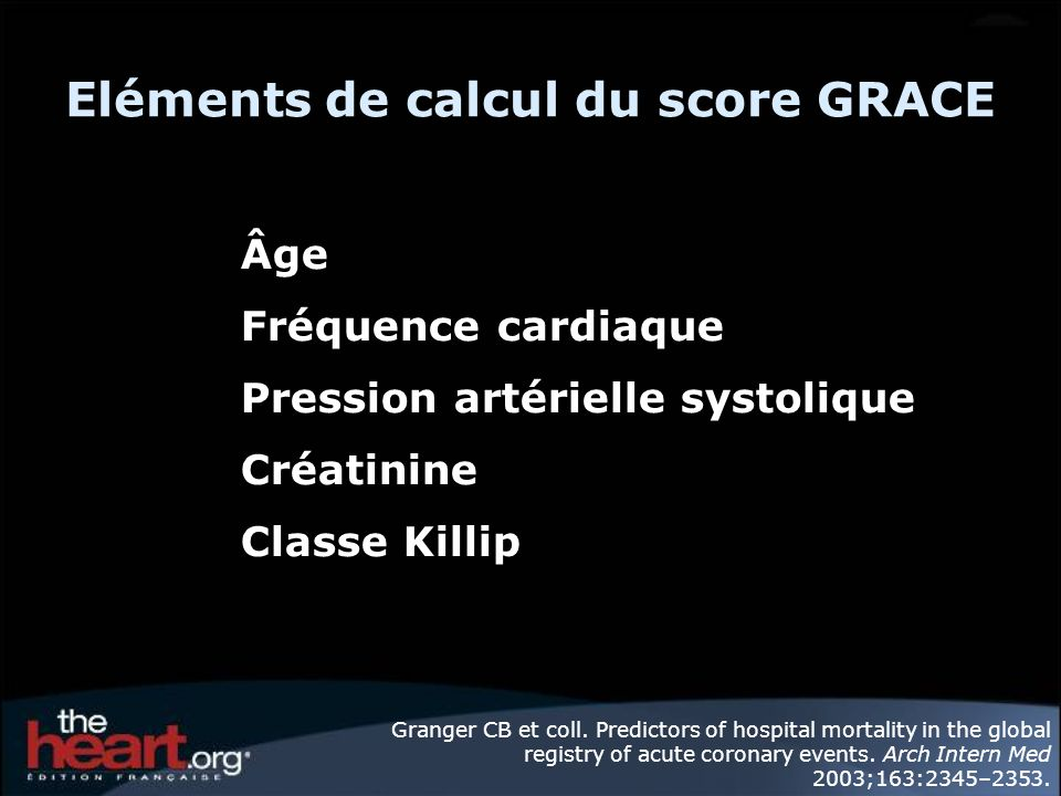 Eléments de calcul du score GRACE