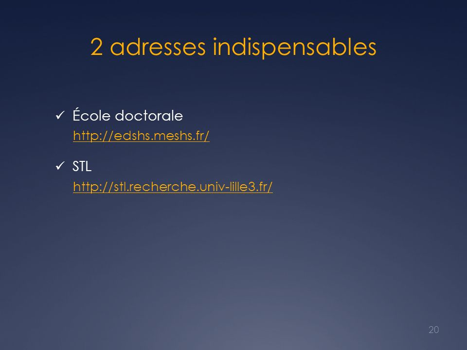 2 adresses indispensables
