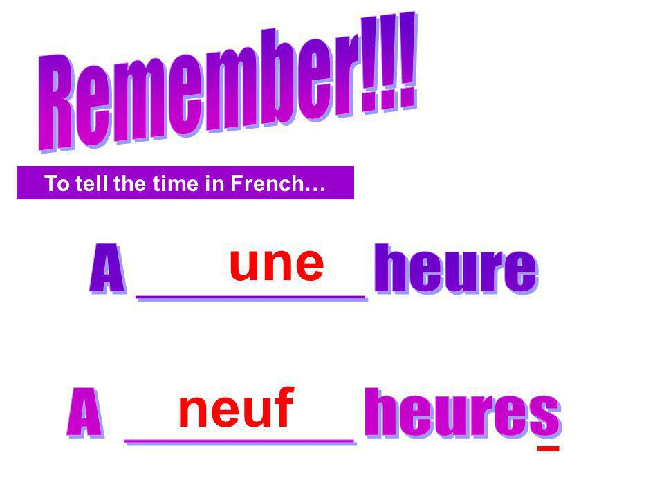 To tell the time in French…
