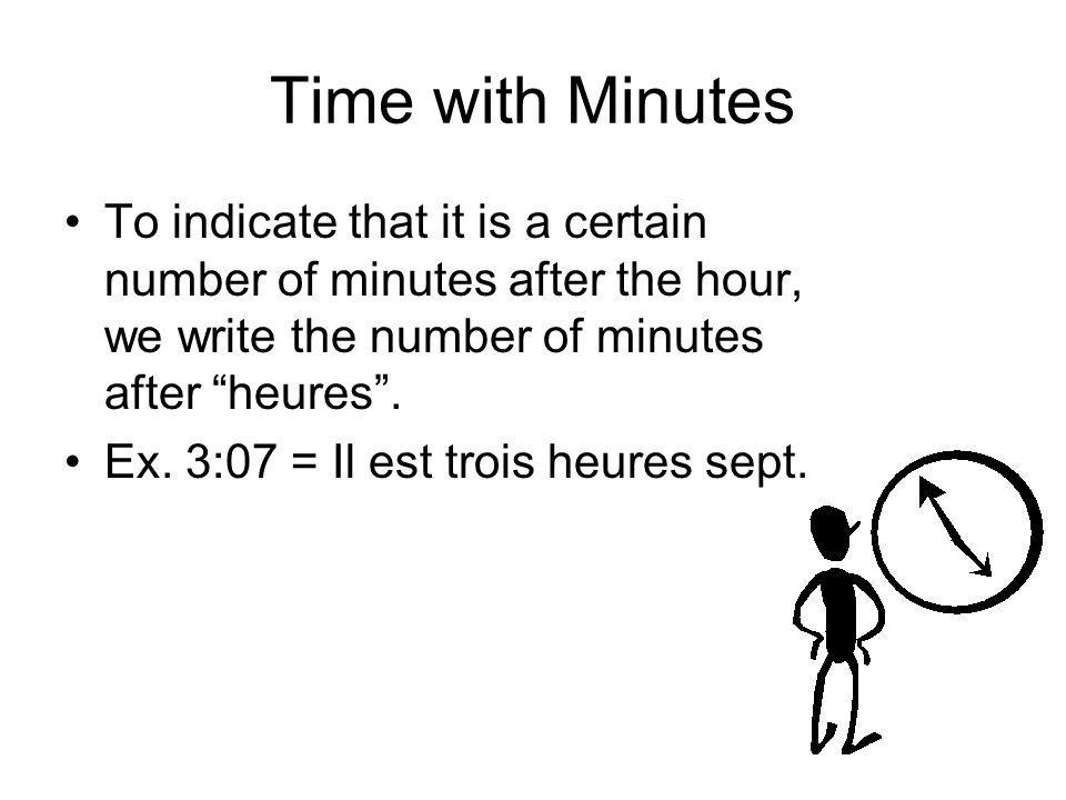 Time with Minutes To indicate that it is a certain number of minutes after the hour, we write the number of minutes after heures .