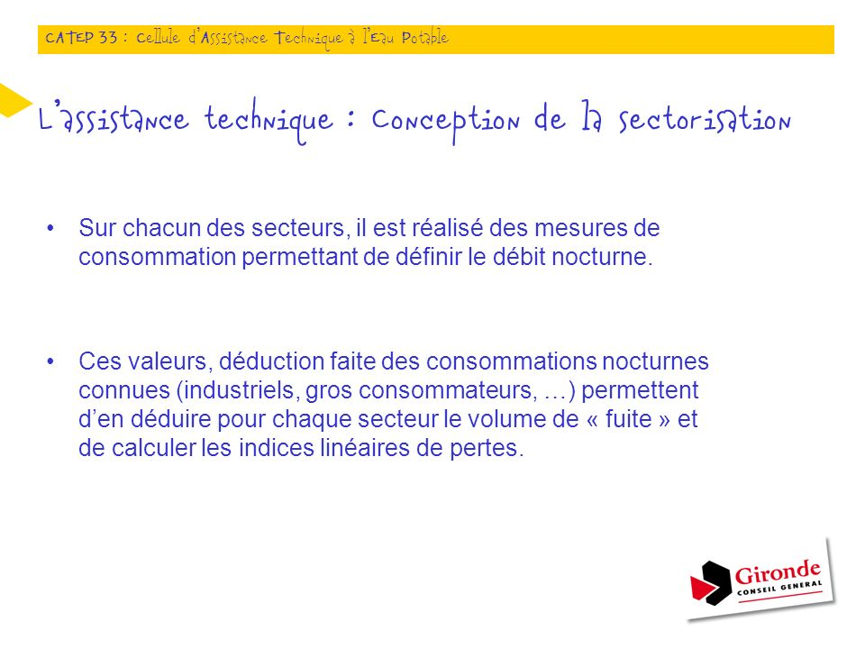 L'assistance technique : Conception de la sectorisation