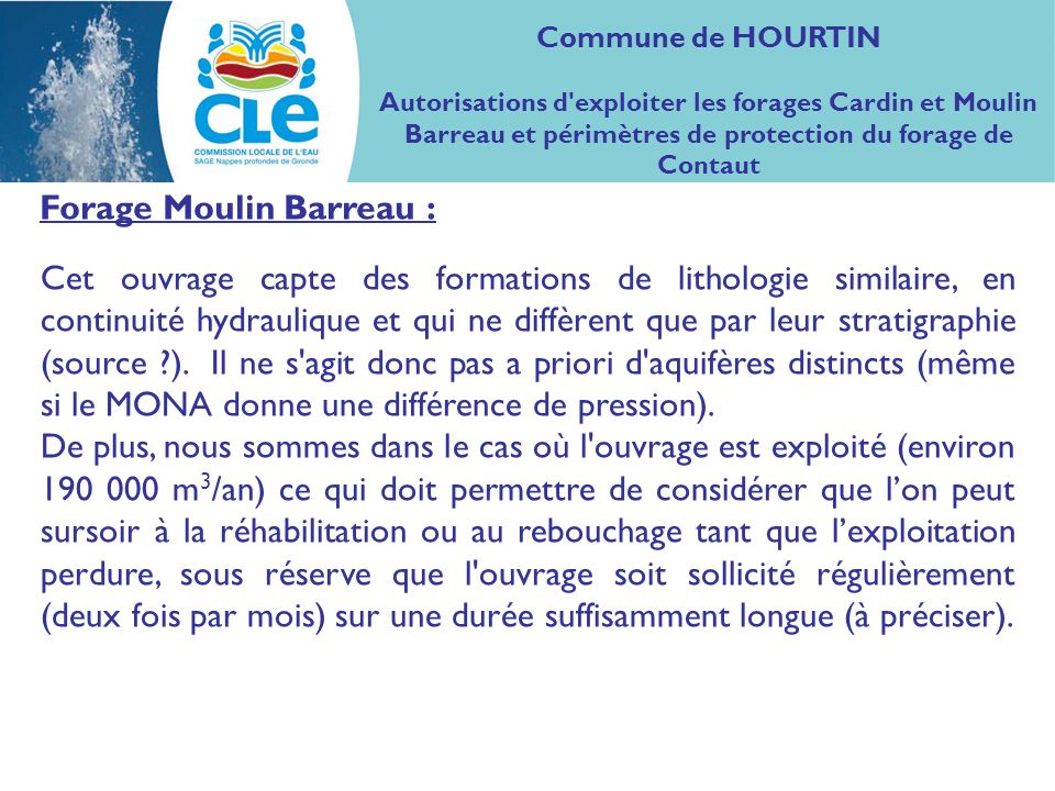 Forage Moulin Barreau :