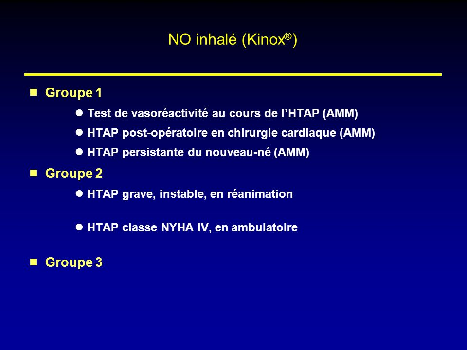 NO inhalé (Kinox®) Groupe 1 Groupe 2 Groupe 3