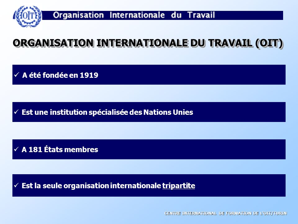 ORGANISATION INTERNATIONALE DU TRAVAIL (OIT)