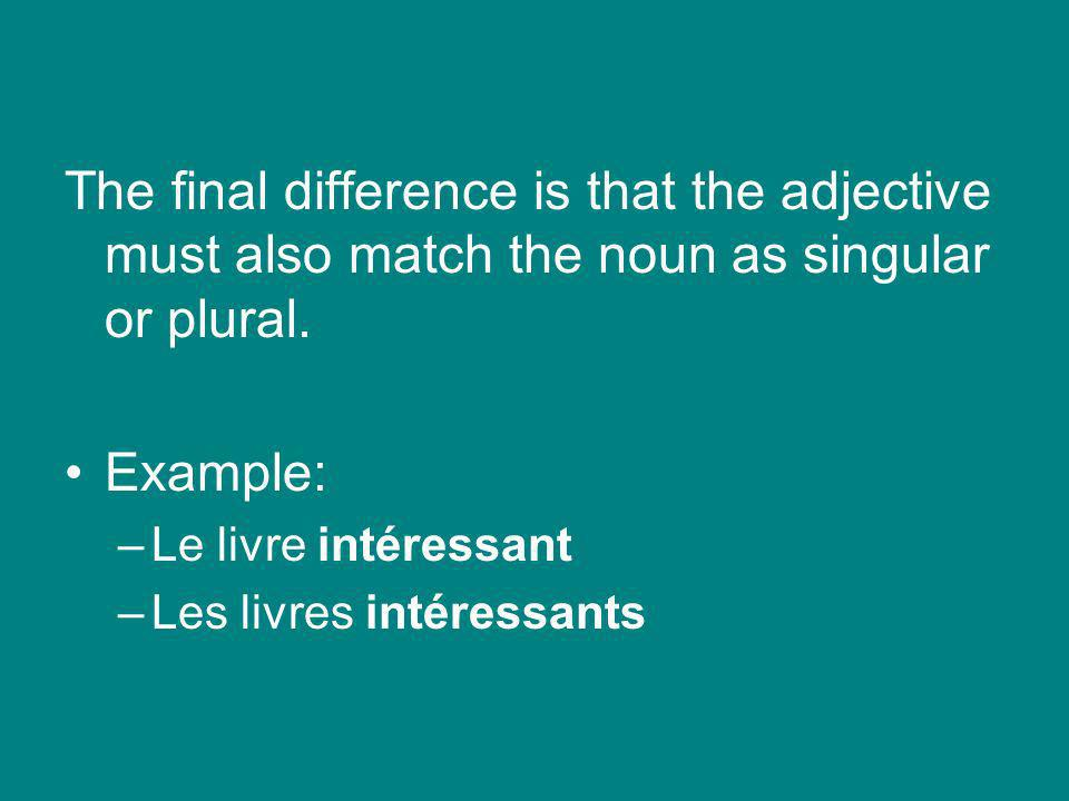 The final difference is that the adjective must also match the noun as singular or plural.