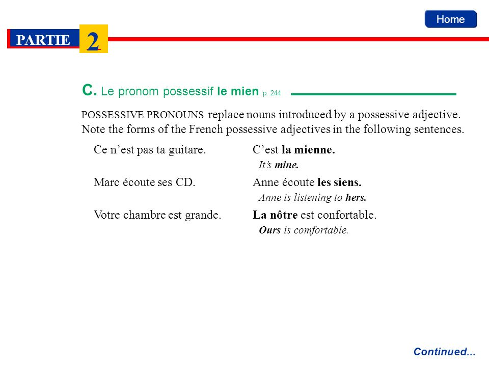 C. Le pronom possessif le mien p. 244