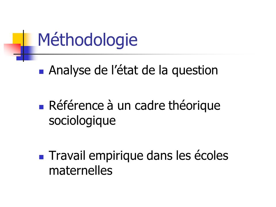 Méthodologie Analyse de l'état de la question