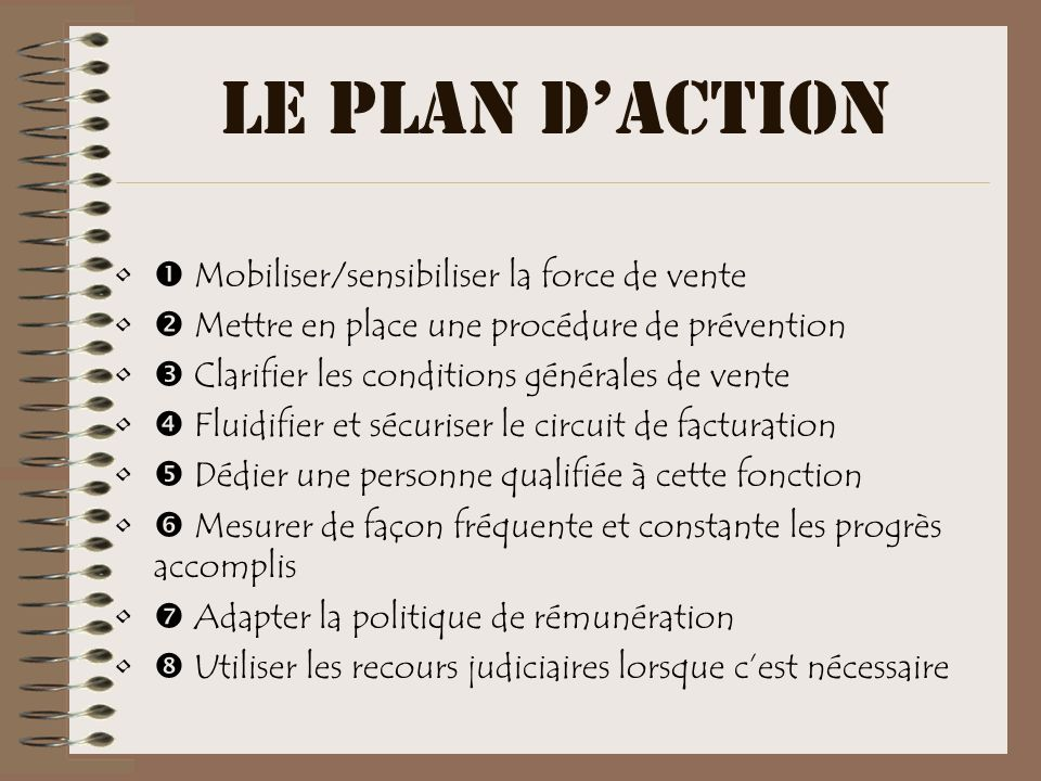 LE PLAN D'ACTION  Mobiliser/sensibiliser la force de vente