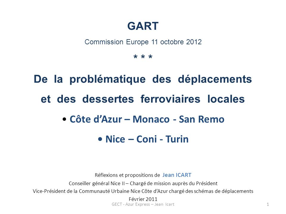 GART Commission Europe 11 octobre 2012
