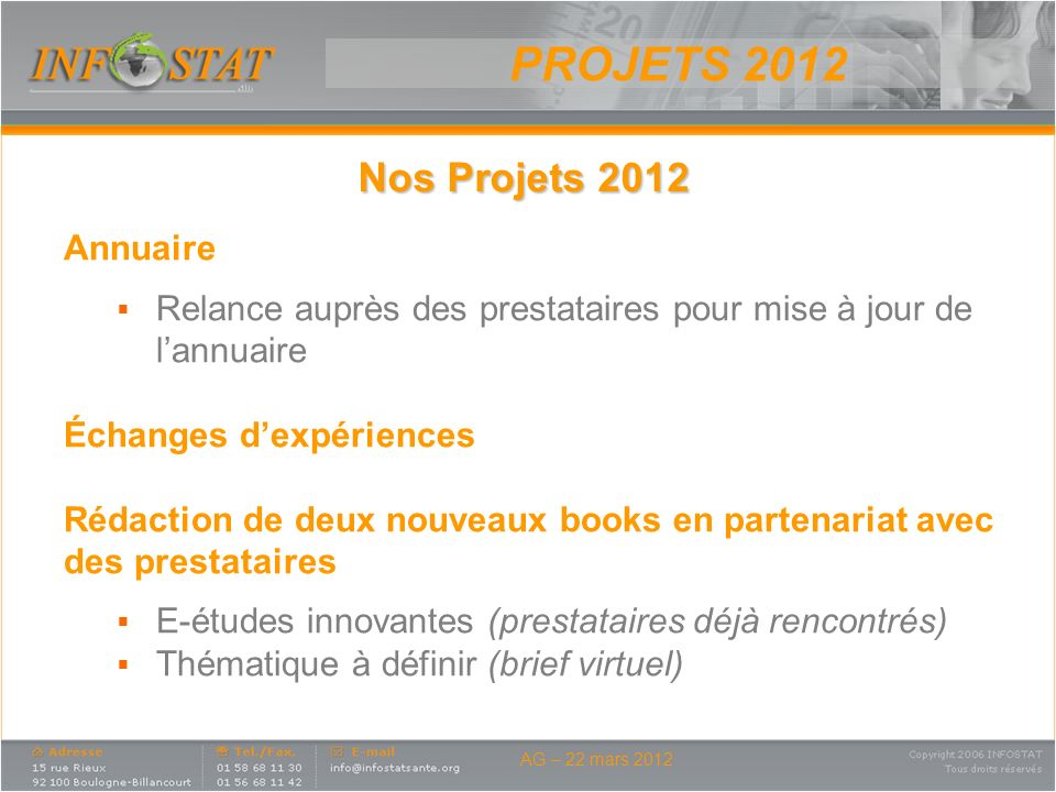 PROJETS 2012 Nos Projets 2012 Annuaire