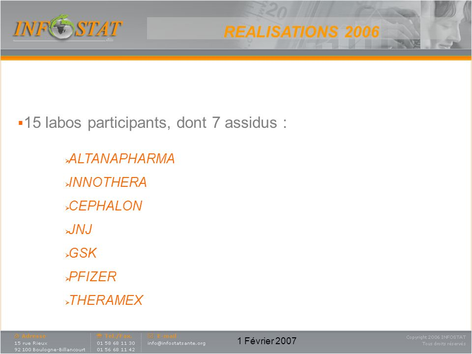 REALISATIONS labos participants, dont 7 assidus : ALTANAPHARMA
