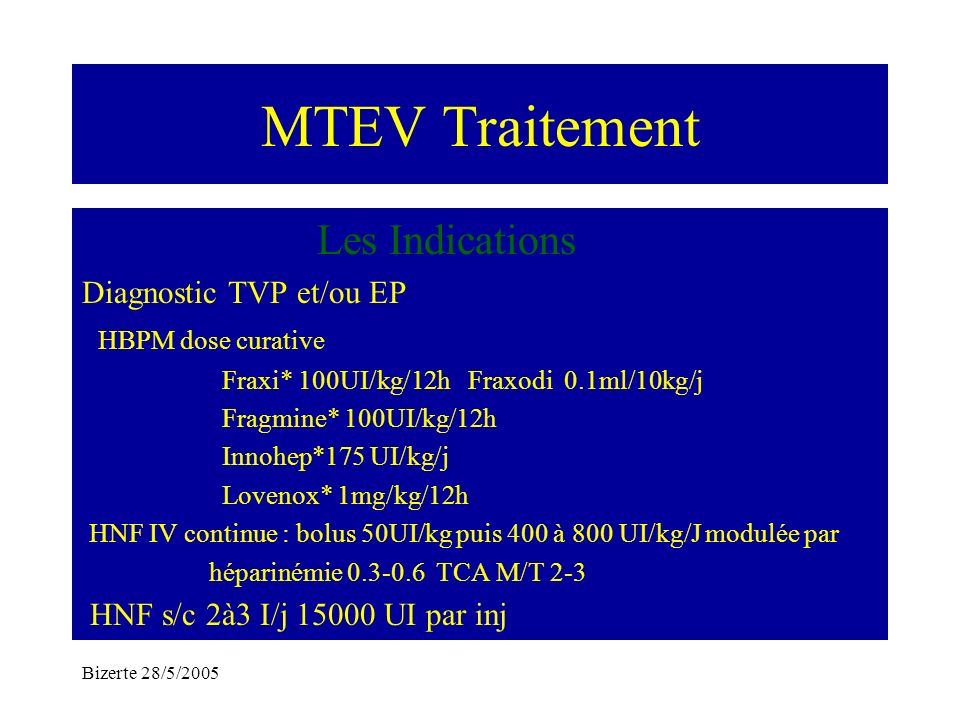 MTEV Traitement Les Indications Diagnostic TVP et/ou EP