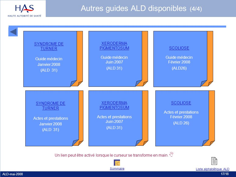 Autres guides ALD disponibles (4/4) SYNDROME DE TURNER Guide médecin