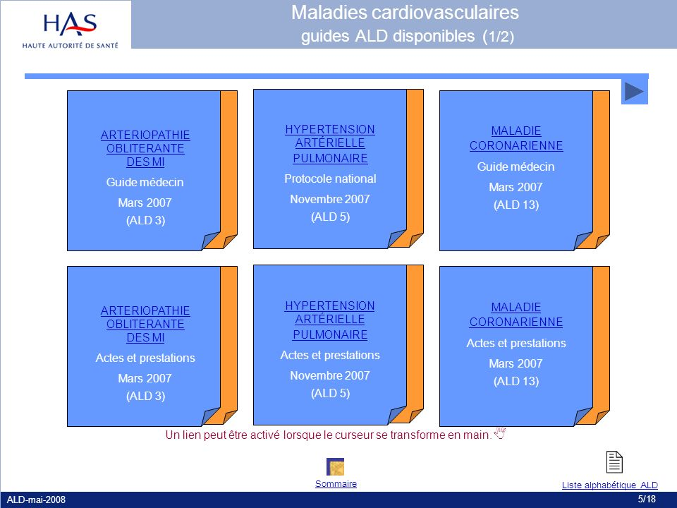 Maladies cardiovasculaires guides ALD disponibles (1/2)