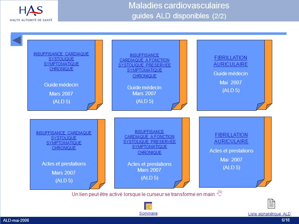 Maladies cardiovasculaires guides ALD disponibles (2/2)