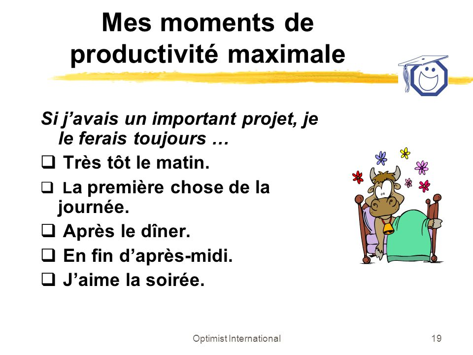 Mes moments de productivité maximale