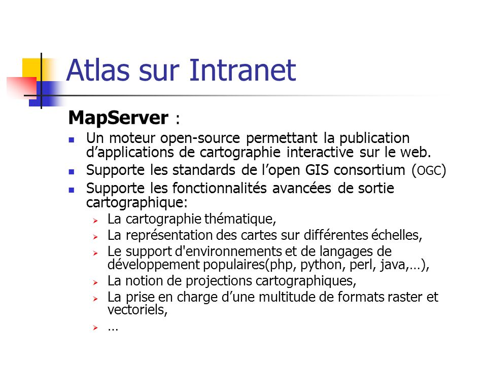 Atlas sur Intranet MapServer :