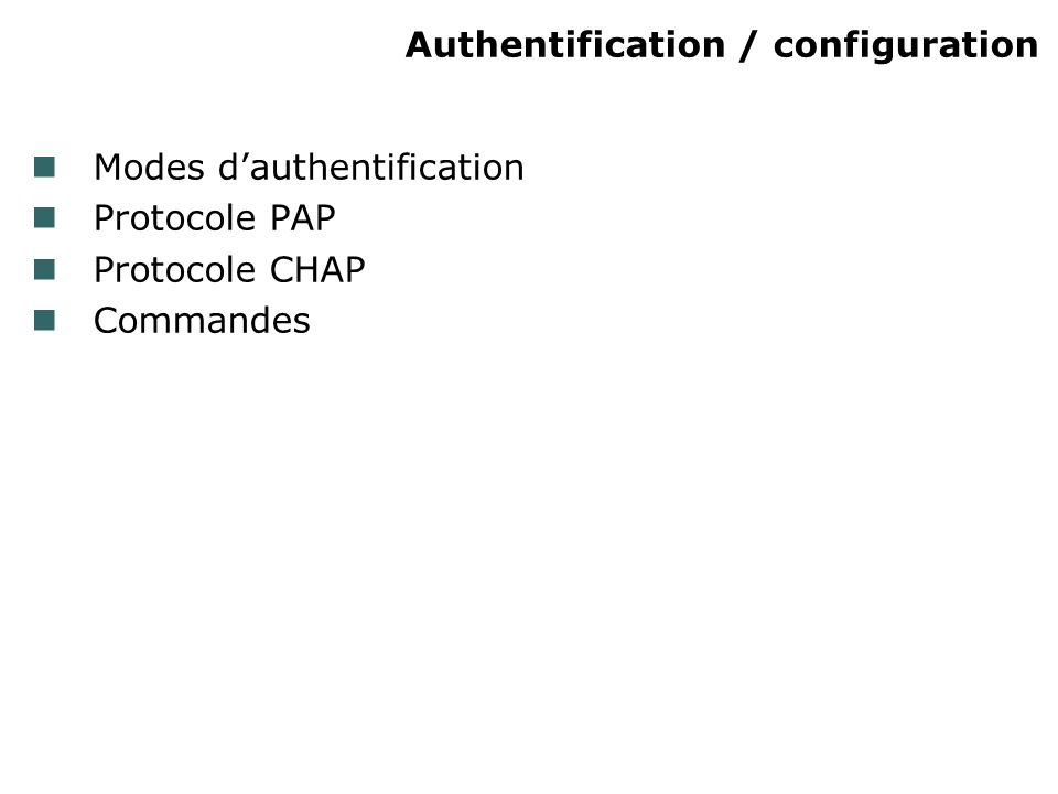 Authentification / configuration