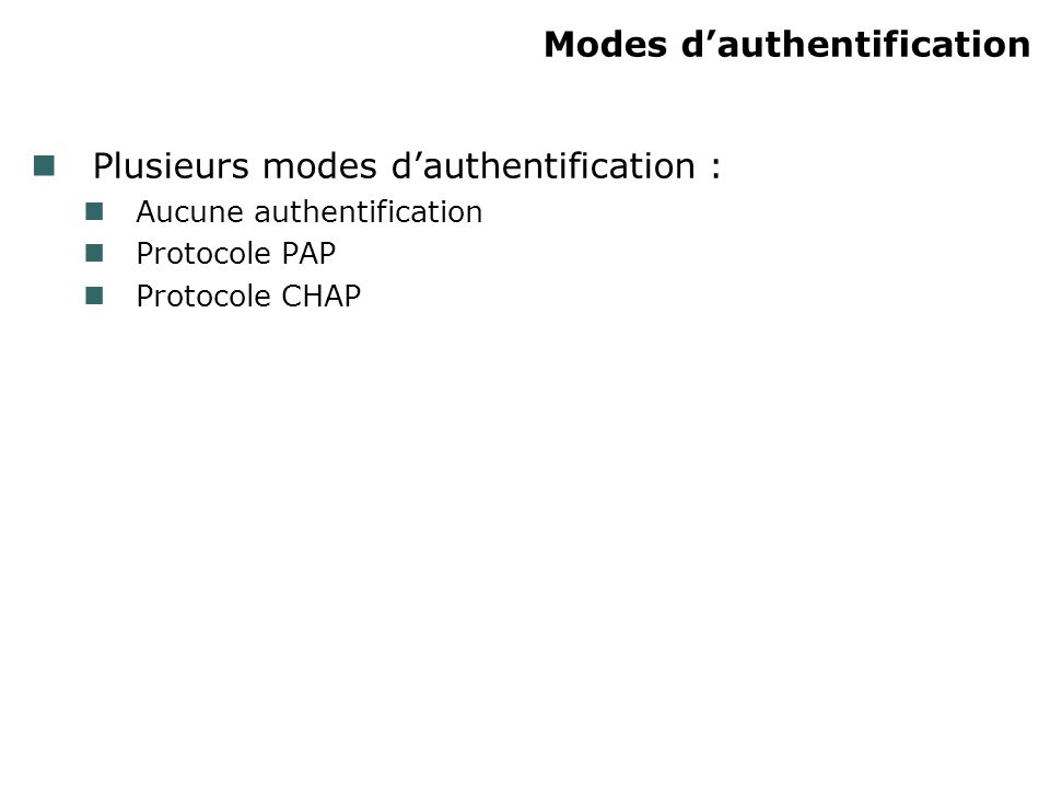 Modes d'authentification