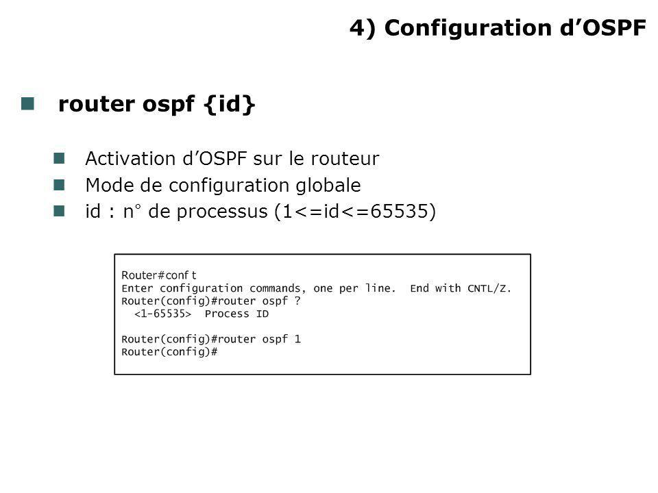 4) Configuration d'OSPF