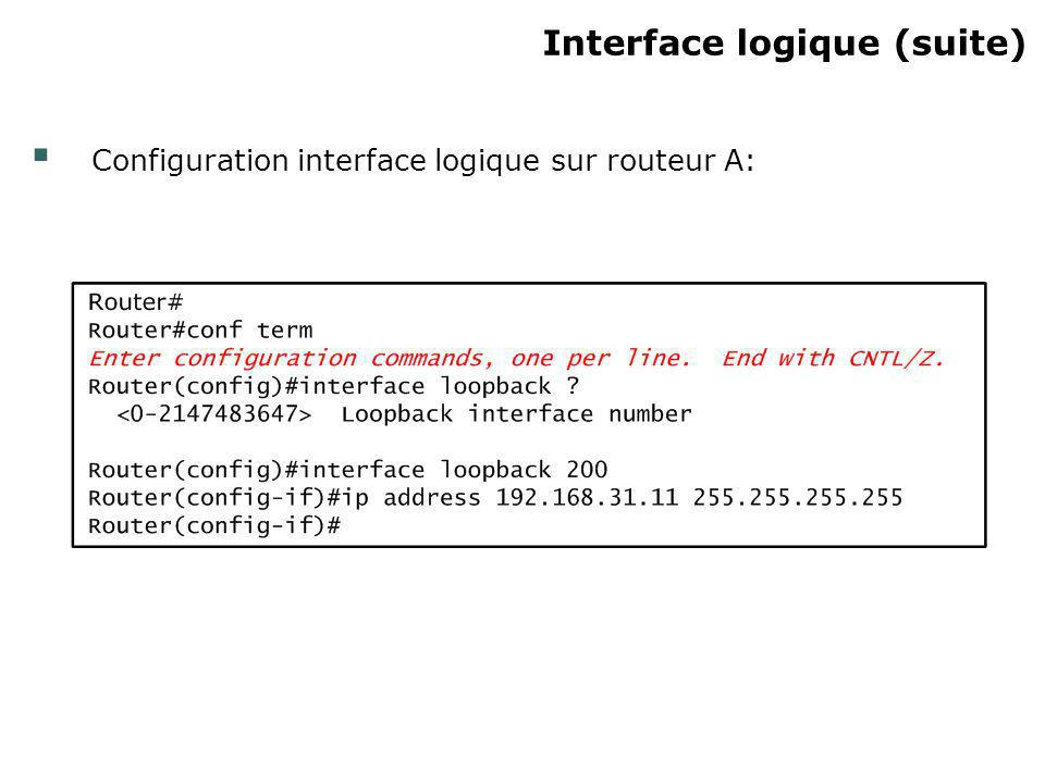 Interface logique (suite)‏
