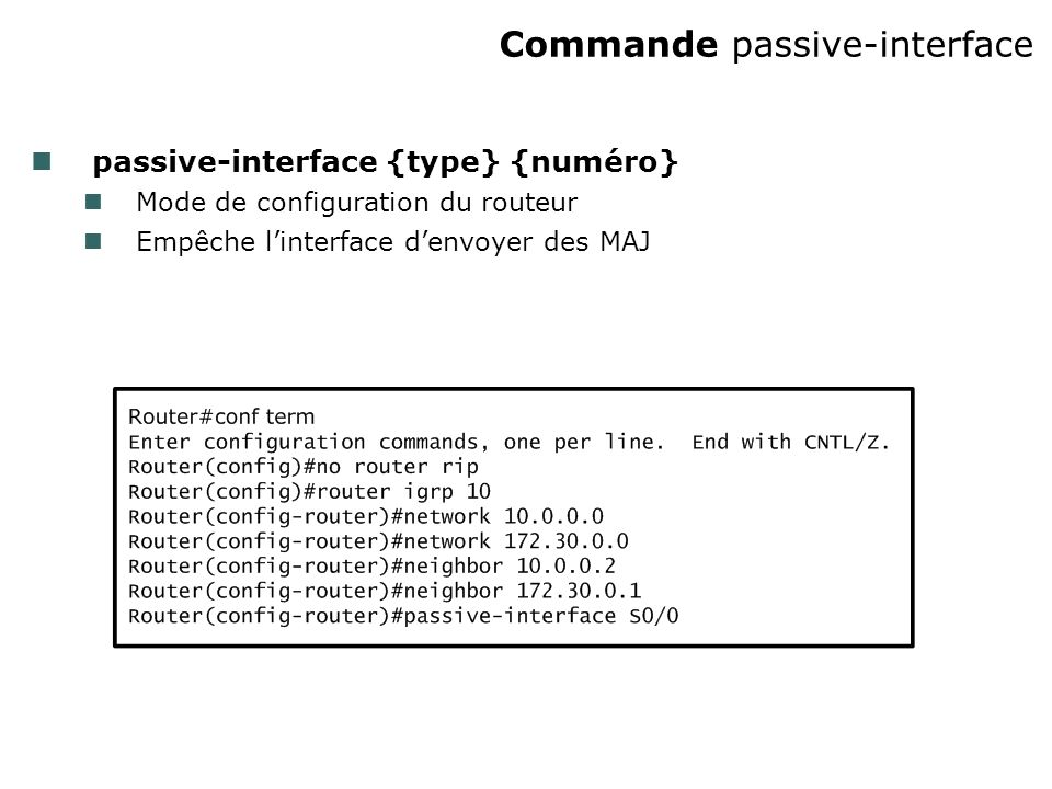 Commande passive-interface