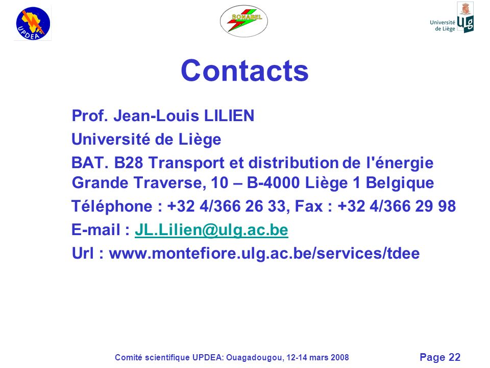 Contacts Prof. Jean-Louis LILIEN Université de Liège