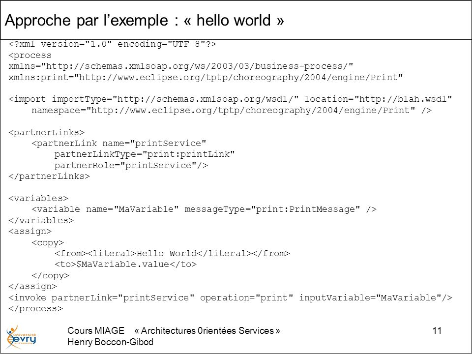 Approche par l'exemple : « hello world »