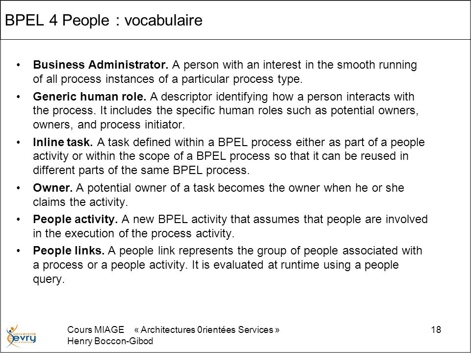 BPEL 4 People : vocabulaire