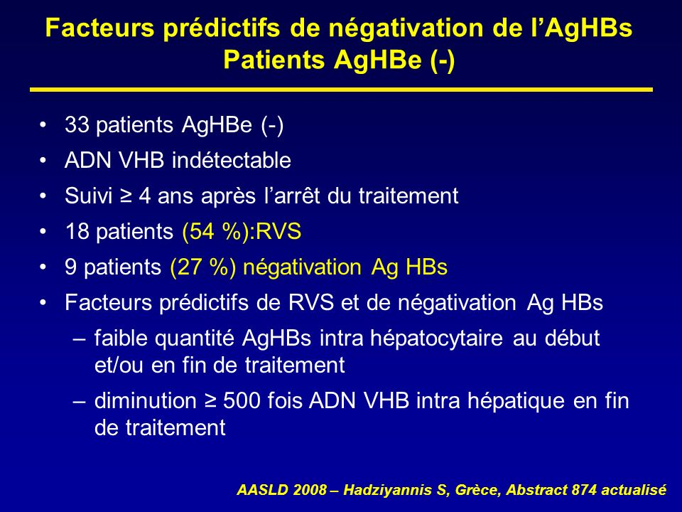 Facteurs prédictifs de négativation de l'AgHBs Patients AgHBe (-)