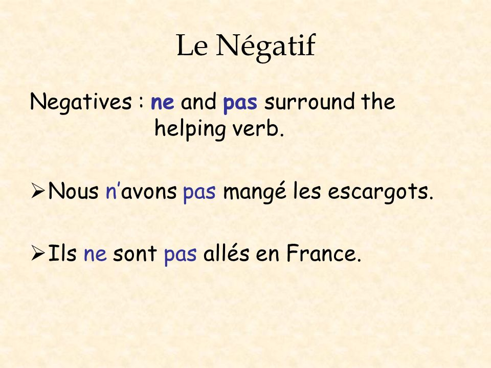 Le Négatif Negatives : ne and pas surround the helping verb.