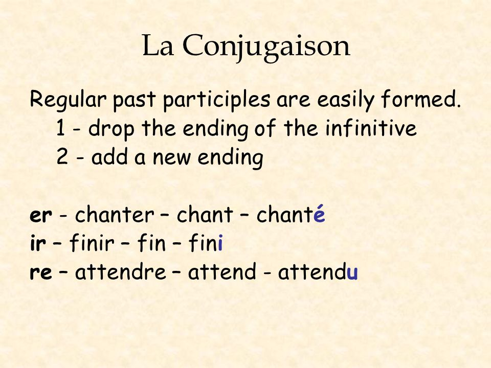 La Conjugaison Regular past participles are easily formed.