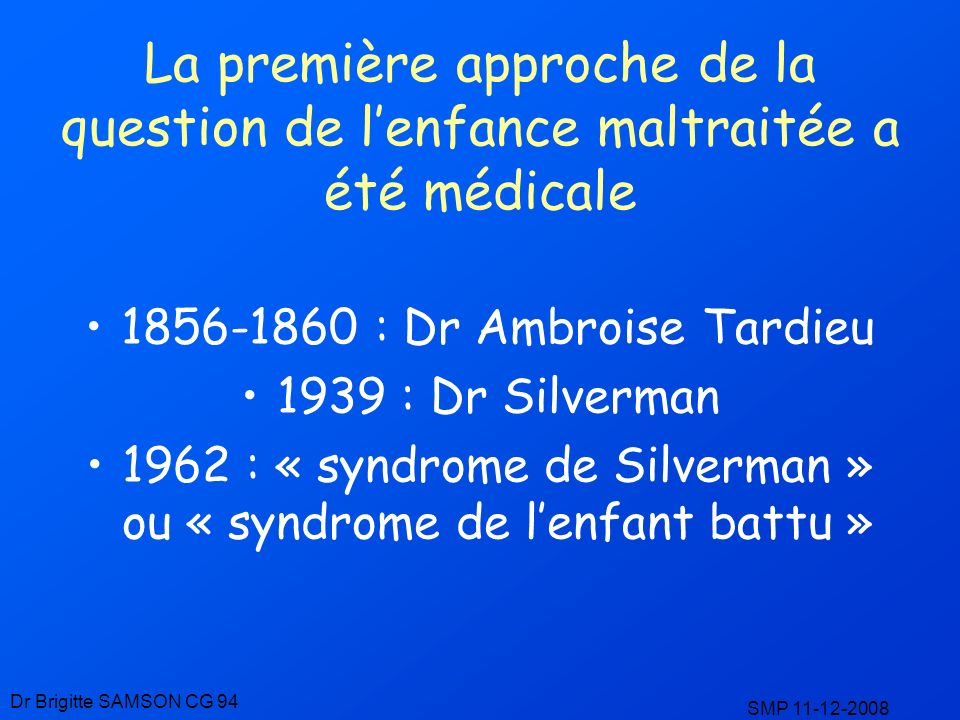 1962 : « syndrome de Silverman » ou « syndrome de l'enfant battu »