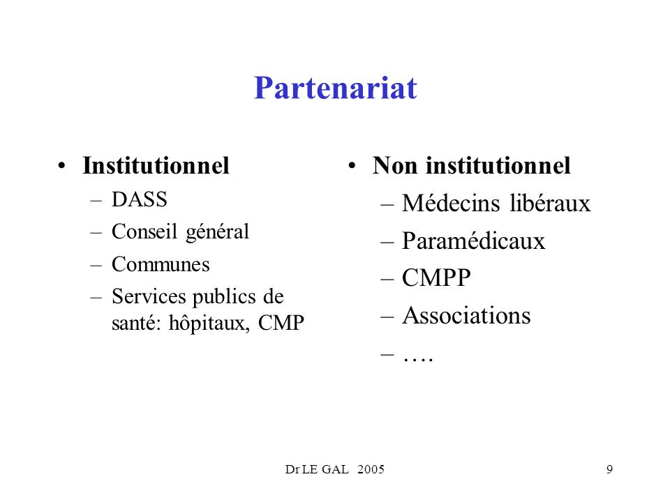 Partenariat Institutionnel Non institutionnel Médecins libéraux