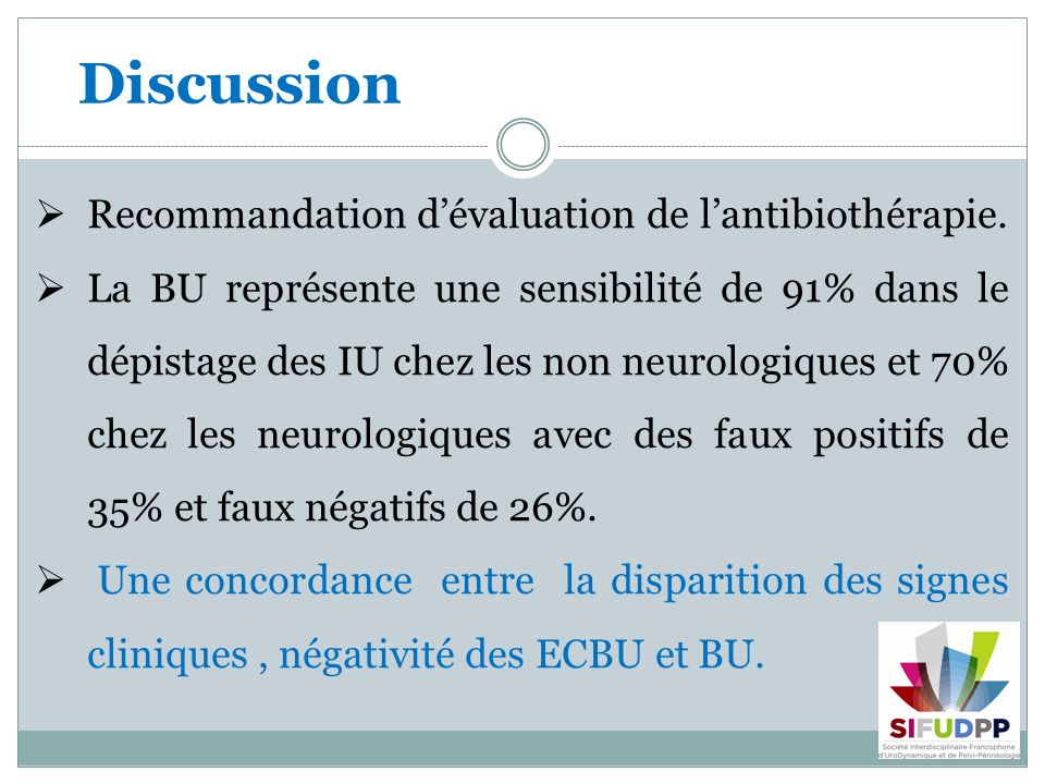 Discussion Recommandation d'évaluation de l'antibiothérapie.