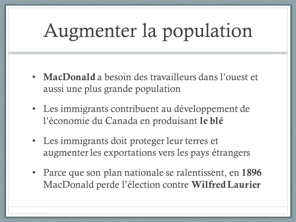 Augmenter la population