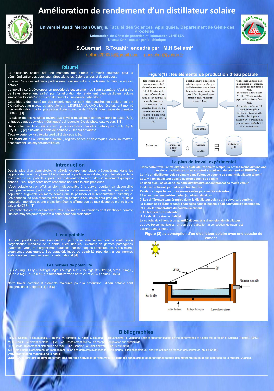 am u00e9lioration de rendement d u2019un distillateur solaire