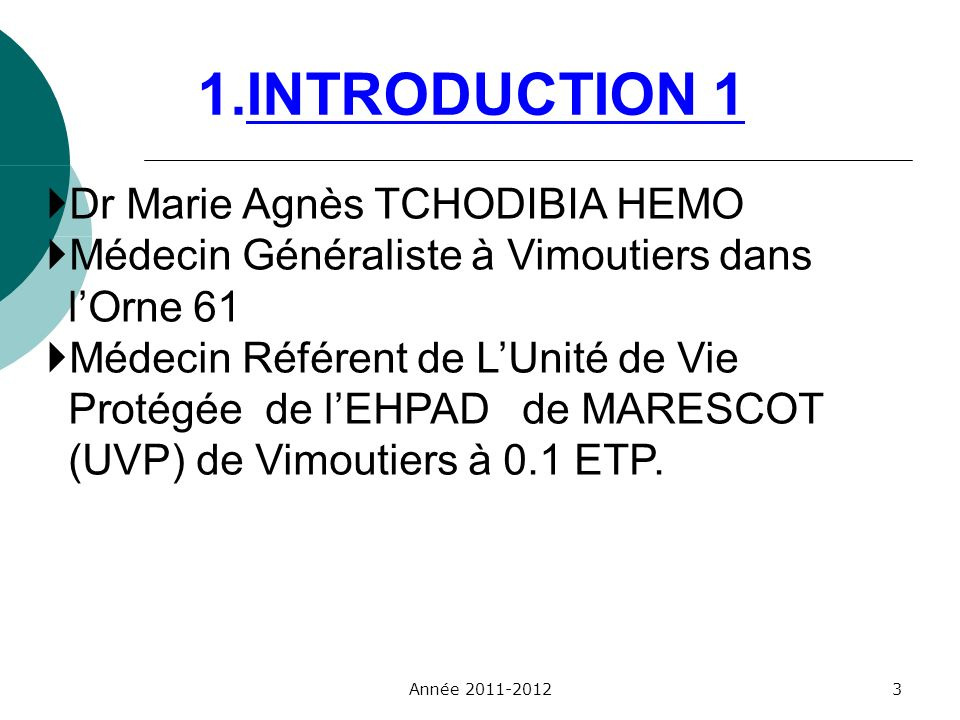 1.INTRODUCTION 1 Dr Marie Agnès TCHODIBIA HEMO
