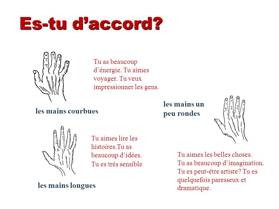Es-tu d'accord les mains un peu rondes les mains courbues