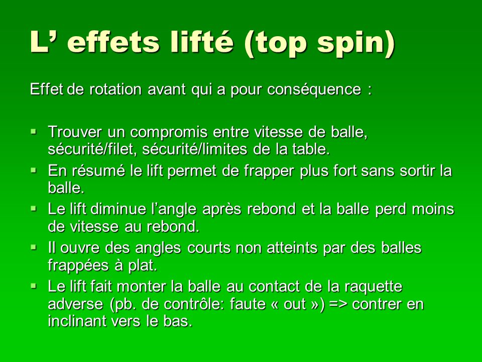 L' effets lifté (top spin)