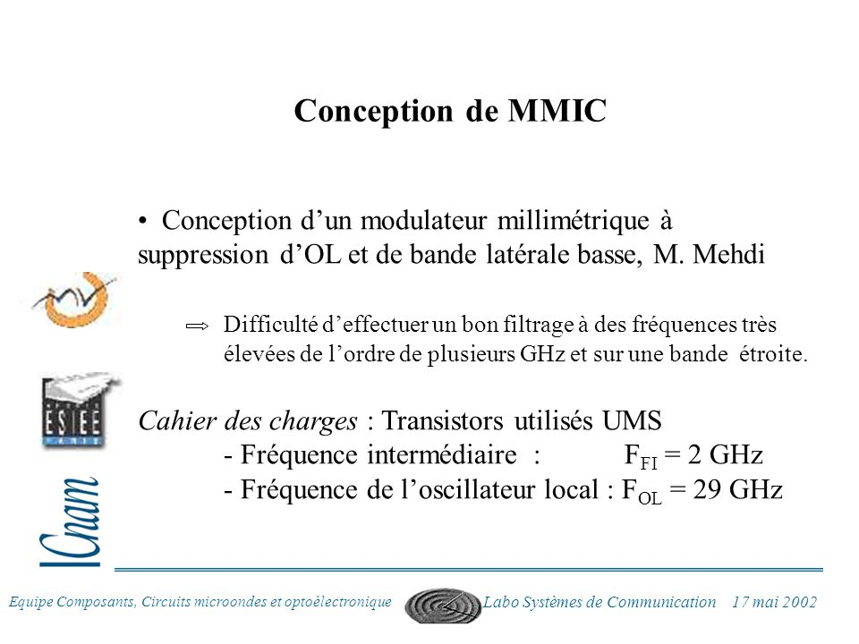 Conception de MMIC Conception d'un modulateur millimétrique à